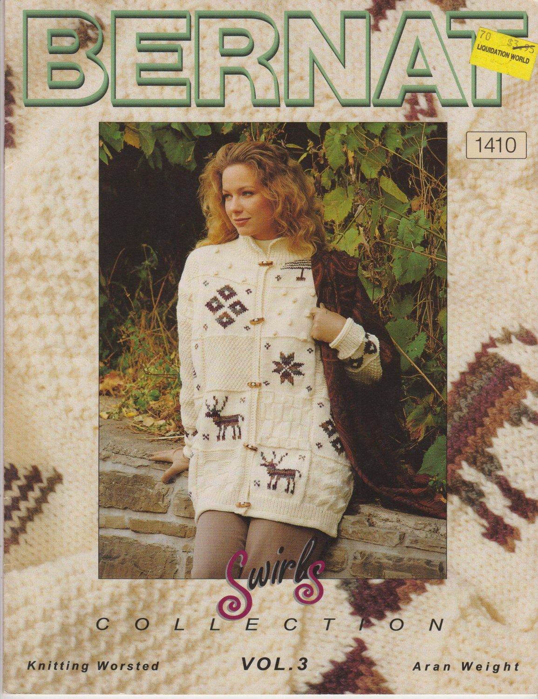 Bernat Knitting Pattern #1410 Swirls Collection Volume 3