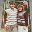 Bouquet Pattern 470 to Knit Ladies Fair Isle Pullover/Mans V Neck Fair Isle Vest