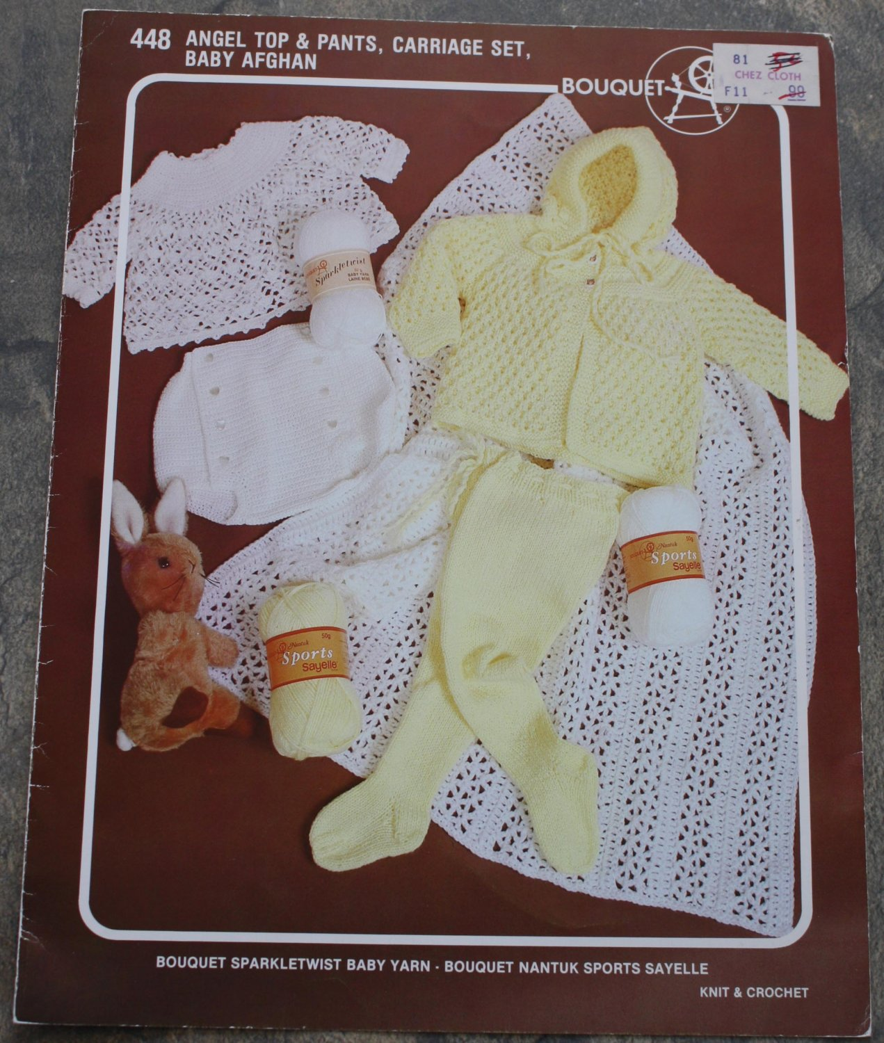 Bouquet Knit & Crochet Pattern No. 448 Angel Top & Pants Carriage Set Baby Afghan
