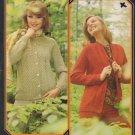 Brunswick Knitting Pattern Leaflet 7423 to Knit Raglan Sleeve Cardigans