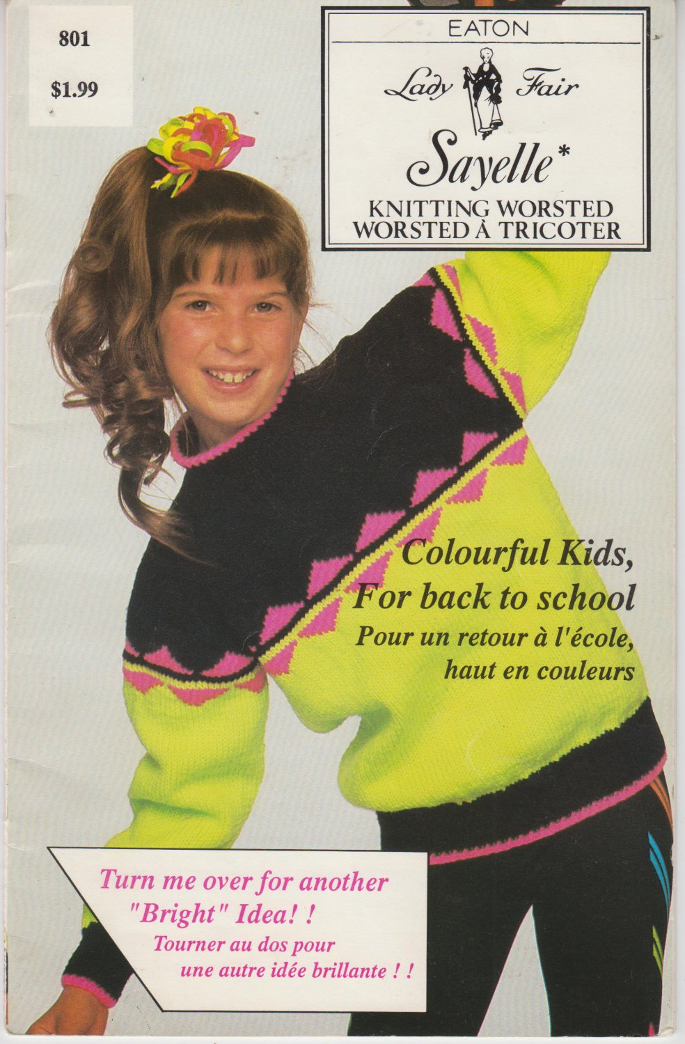 Eaton Lady Fair Pattern to Knit Childrens Neon Color Sweater in Sizes 6 to 10