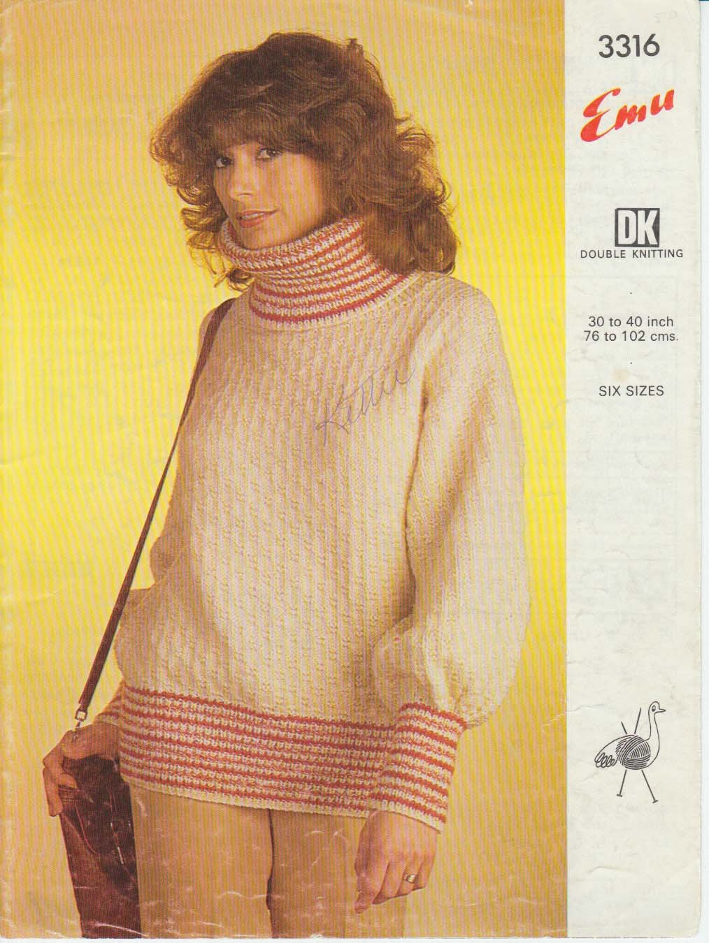 Emu Knitting Pattern #3316 to knit sweater in 6 sizes