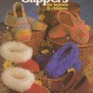 Leisure Arts 1981 Pattern Leaflet #205 Crocheted Slippers for women & children