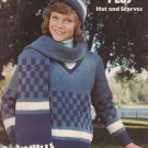 Leisure Arts 1974 Knitting Pattern #47 Sweaters Plus Hat and Scarves