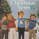 Leisure Arts 1988 Knitting Pattern Leaflet #611 Christmas Vests For Kids