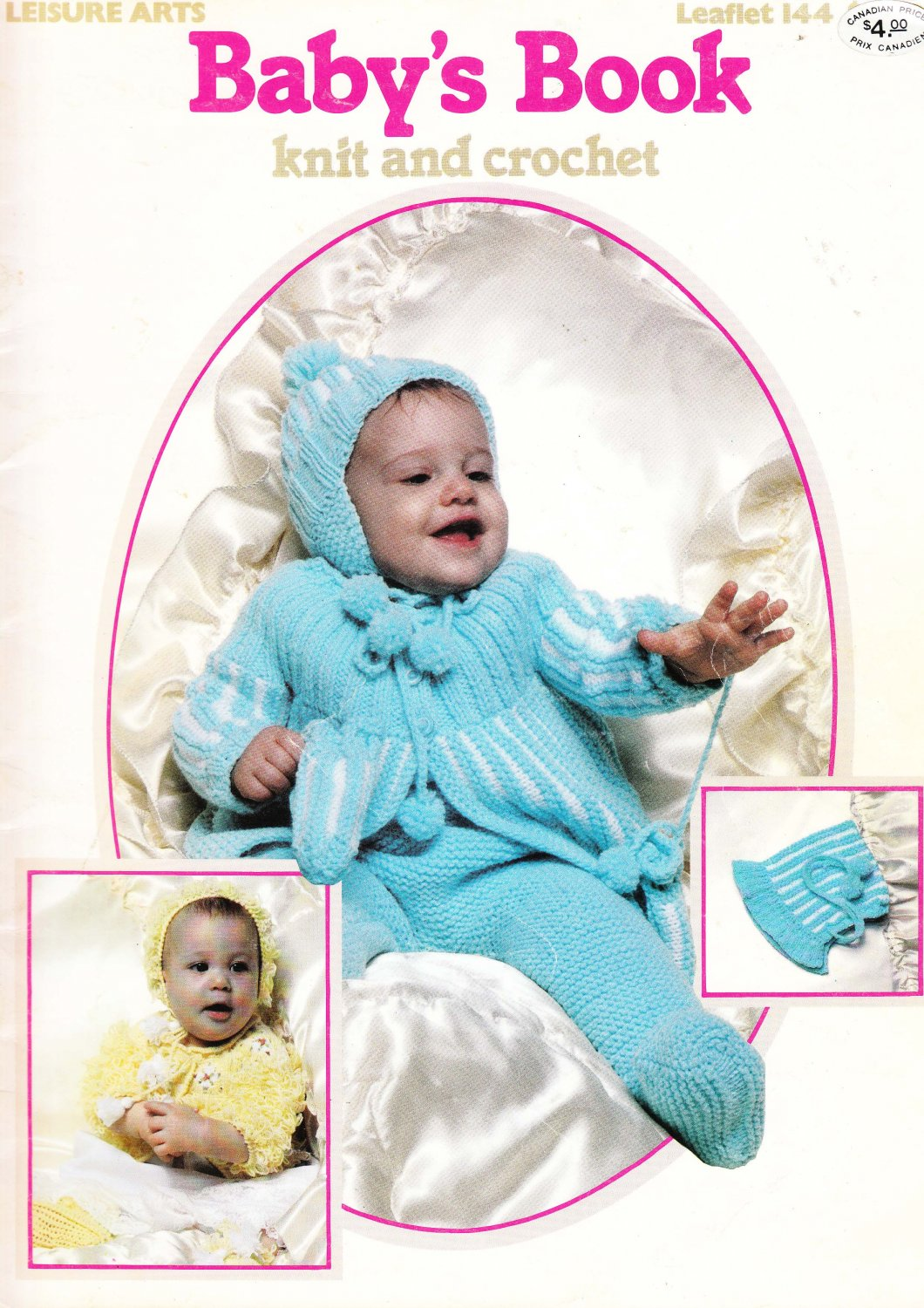 Leisure Arts 1979 Leaflet #144 Baby's Book knit and crochet