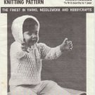 Mary Maxim Knitting Pattern No.2308 Hooded Cardigan to fit 6 months to 1 year