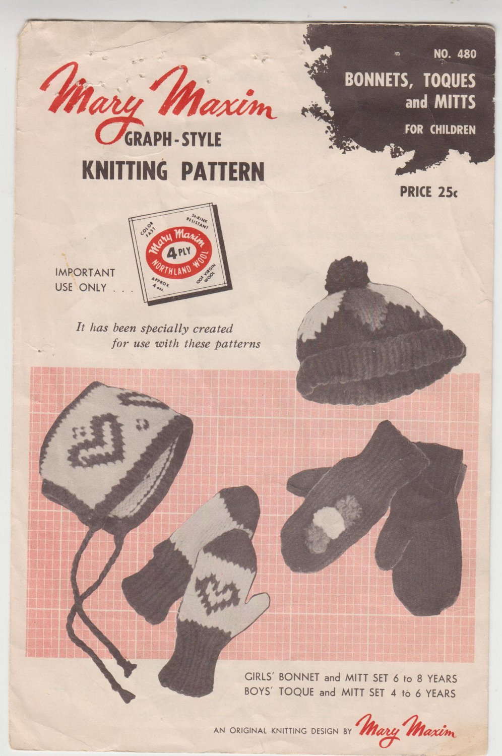 Mary Maxim Graph-Style Knitting Pattern #480 Bonnets,Toques and Mitts for children