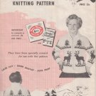 Mary Maxim Graph Style Knitting Pattern Zippered Cardigan No. 450 Reindeer