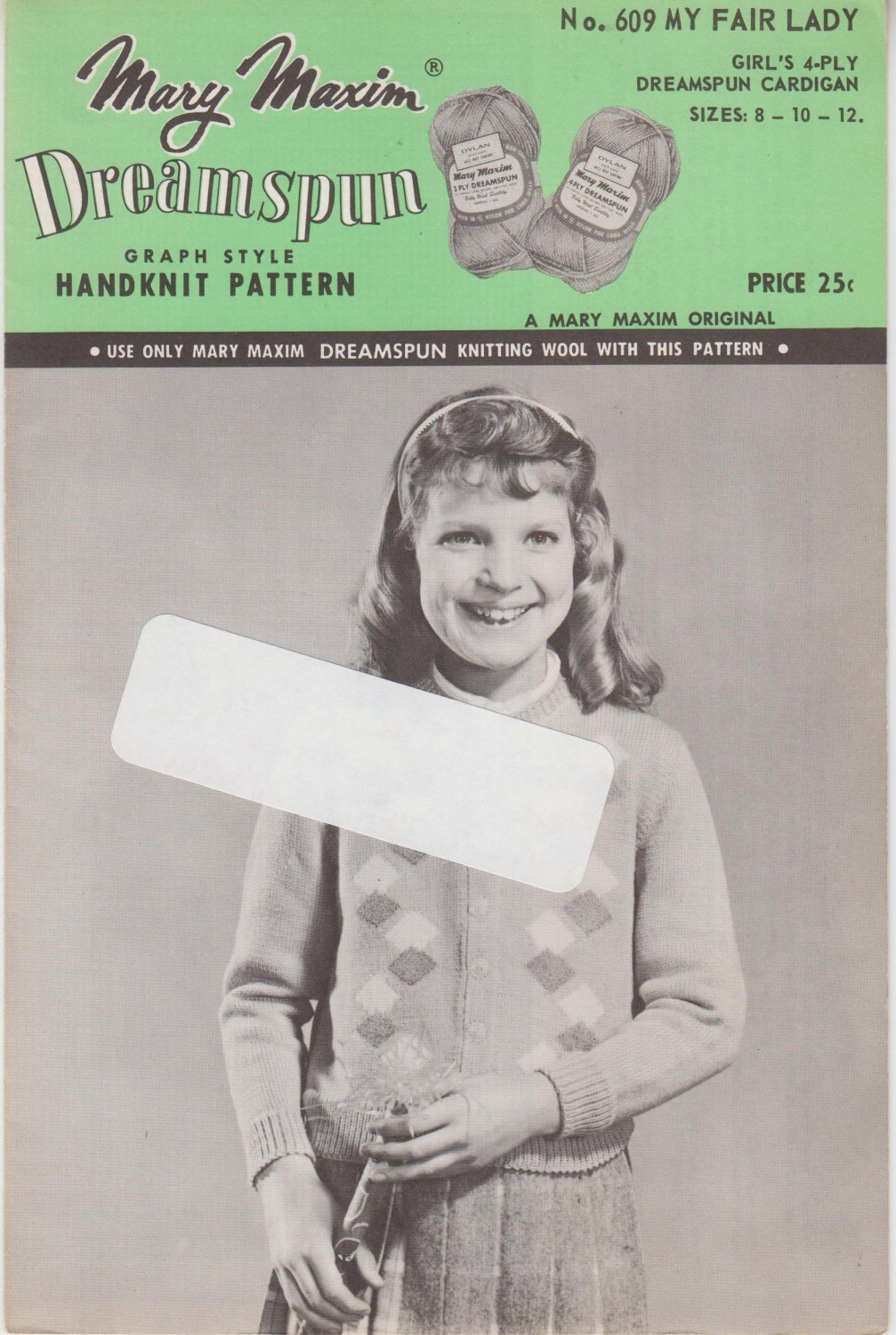 Mary Maxim Vintage Graph Style Knitting Pattern No. 609 My Fair Lady