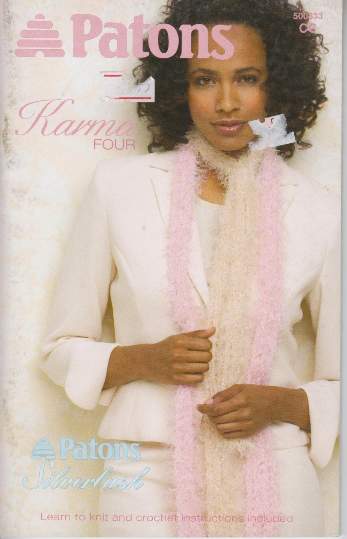 Patons 2005 Knitting & Crochet Pattern Booklet #500833CC Karma Four
