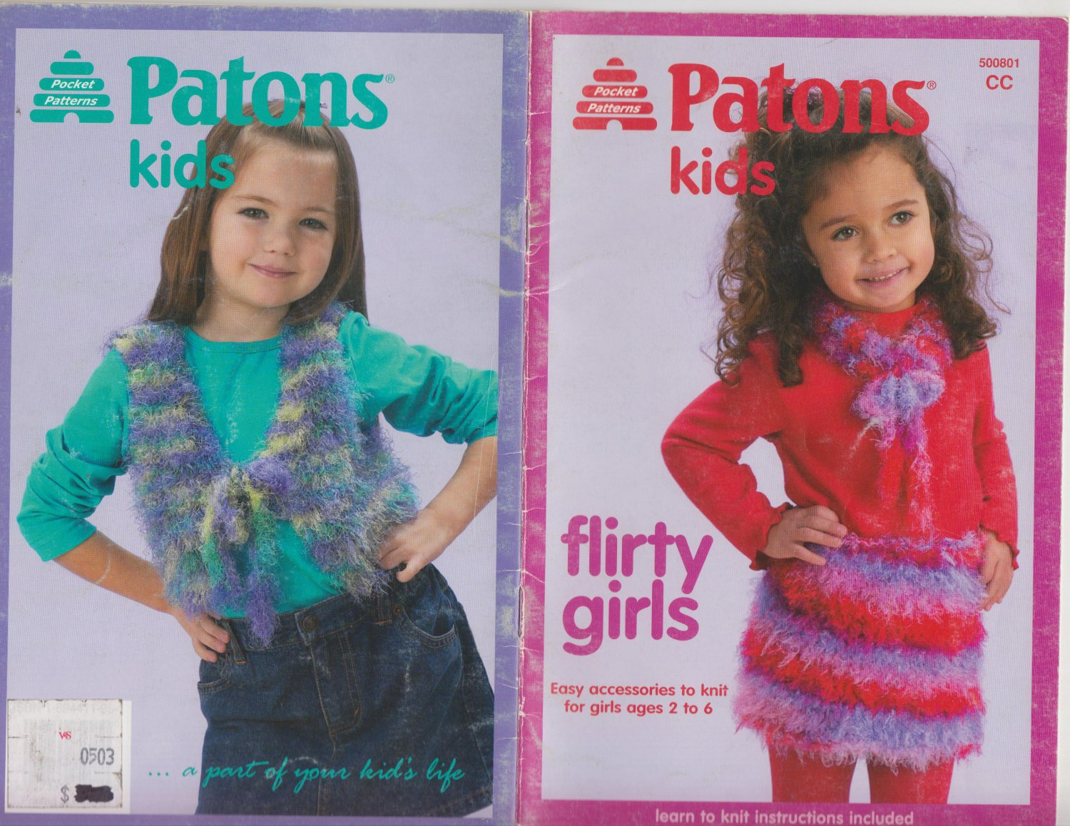 Patons 2003 Knitting Pattern Booklet Patons Kids Flirty Girls #500801CC