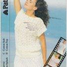Patons 1986 Knitting Pattern #8295 to Knit Slash Neck Lacy Top