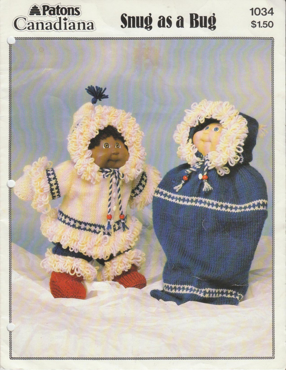 Patons 1985 Doll Parka Outfit Knitting Pattern #1034 Snug as a Bug