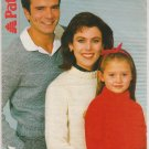 Patons Chunky Knitting Pattern #3044 Crew Neck V Neck Sweaters size 26-44 inches