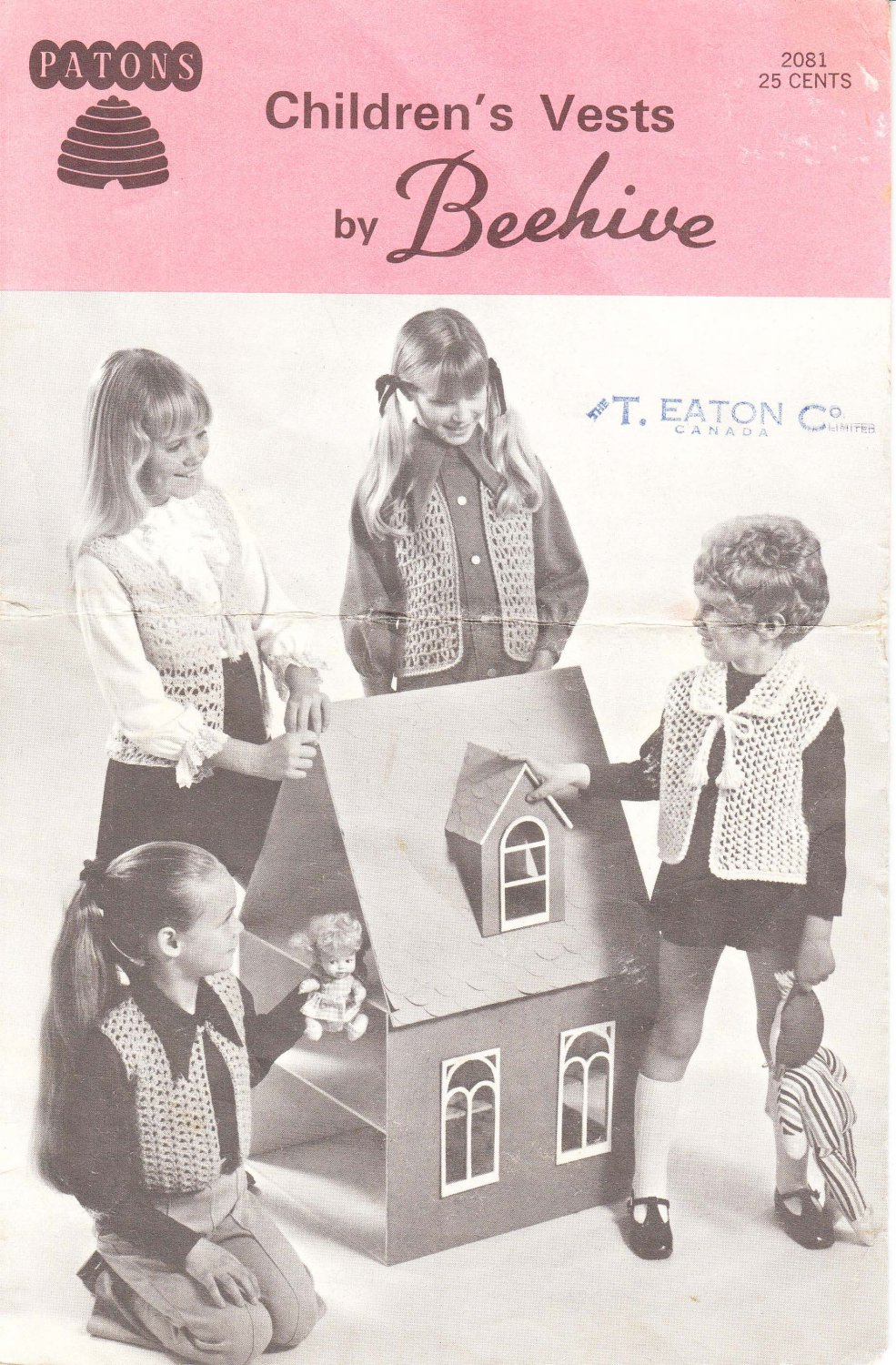 Patons Vintage Crochet and Knitting Pattern #2081 Children's Vests by Beehive