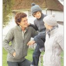 Patons Baldwins Knitting Pattern Leaflet #1786 - to knit Sweaters with Zippers