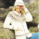 Patons Husky Knitting Pattern Leaflet #7090 Woman's Jacket and Hat
