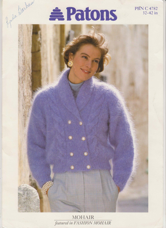Patons Mohair Jacket 1992 Knitting Pattern #PBN C 4782