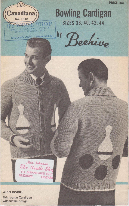 Patons Beehive Canadiana #1010 Bowling Cardigan Vintage Knitting Pattern
