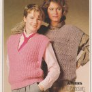 Patons 1985 Open Sided Vests Knitting Pattern #1033