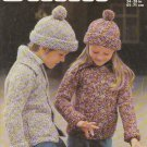 Patons Knitting Pattern #1381 to knit Childrens Sweater-Jacket and Hat