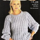 Patons 1984 Knitting Pattern #7728 Loose Eyelet Pattern Sweater