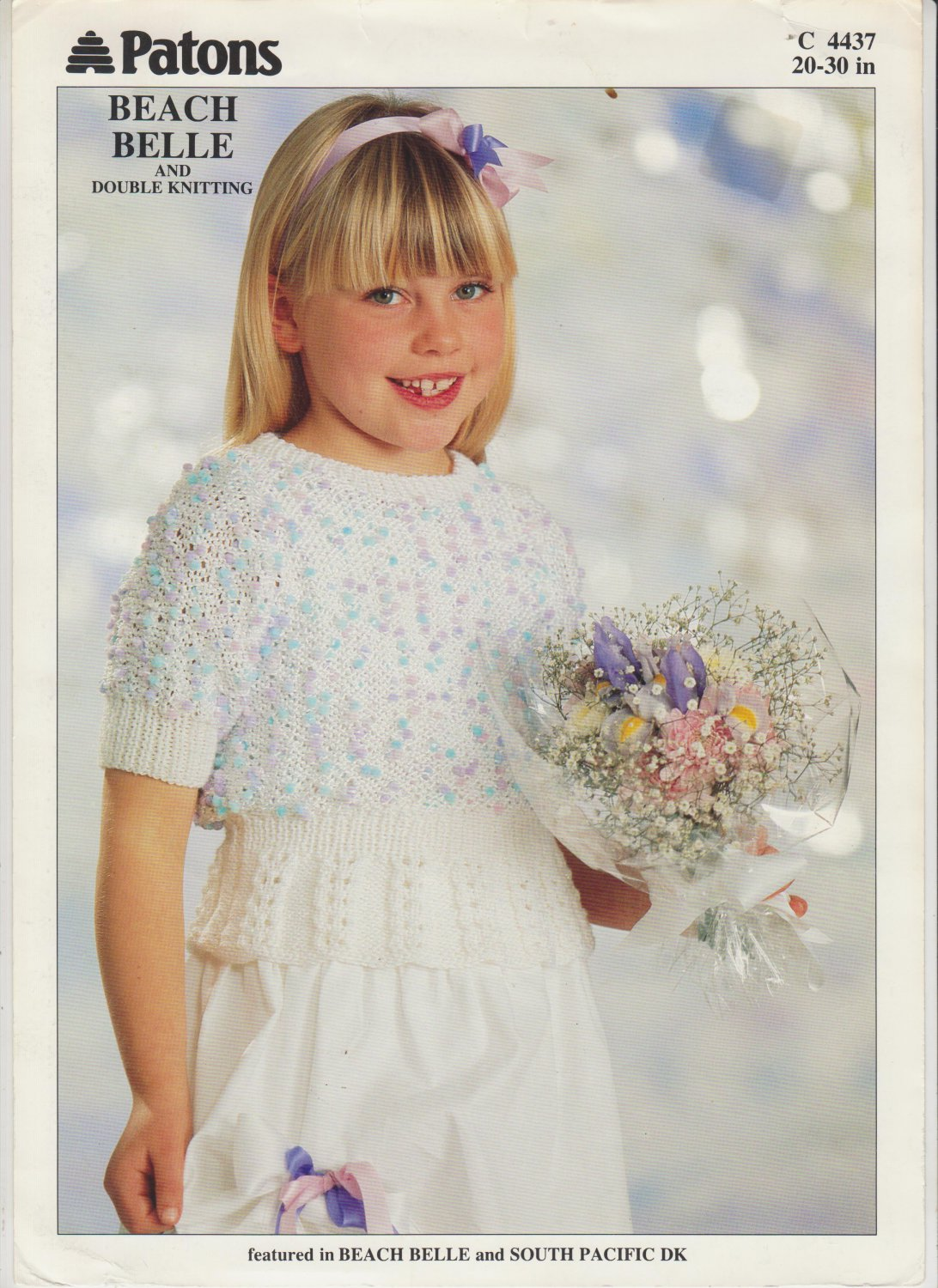Patons Beach Belle 1991 Knitting Pattern #C4437 Peplum Sweater