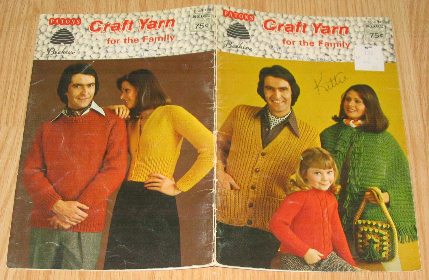 Patons Beehive Vintage Knit Crochet Pattern Book #145 Craft Yarn for the Family