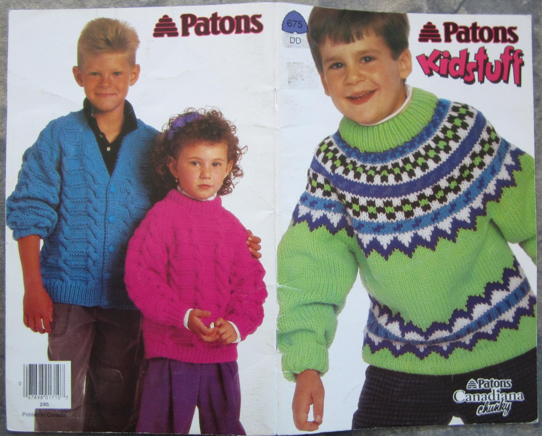 Patons 1992 Kidstuff Knitting Pattern Booklet #675DD