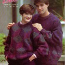 Patons 1990 Echoes Shetland Tweed Tumbling Blocks Sweater Knitting Pattern #1083BB