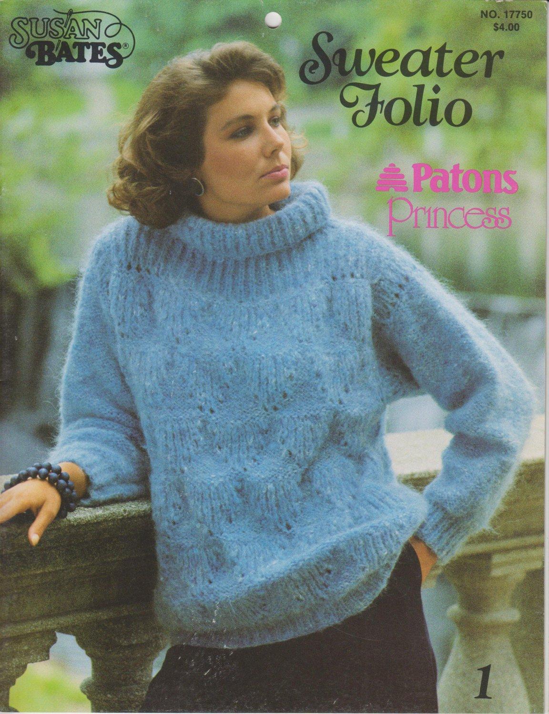Susan Bates Knitting Pattern Booklet Sweater Folio No.17750 Patons Princess