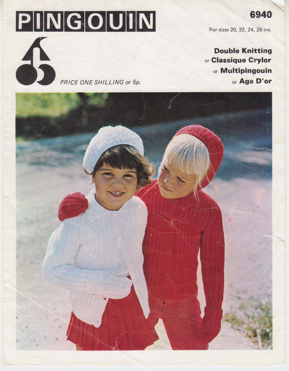 Pingouin knitting Pattern #6940 Child's Raglan Sweater, Mitts, Helmet and Beret