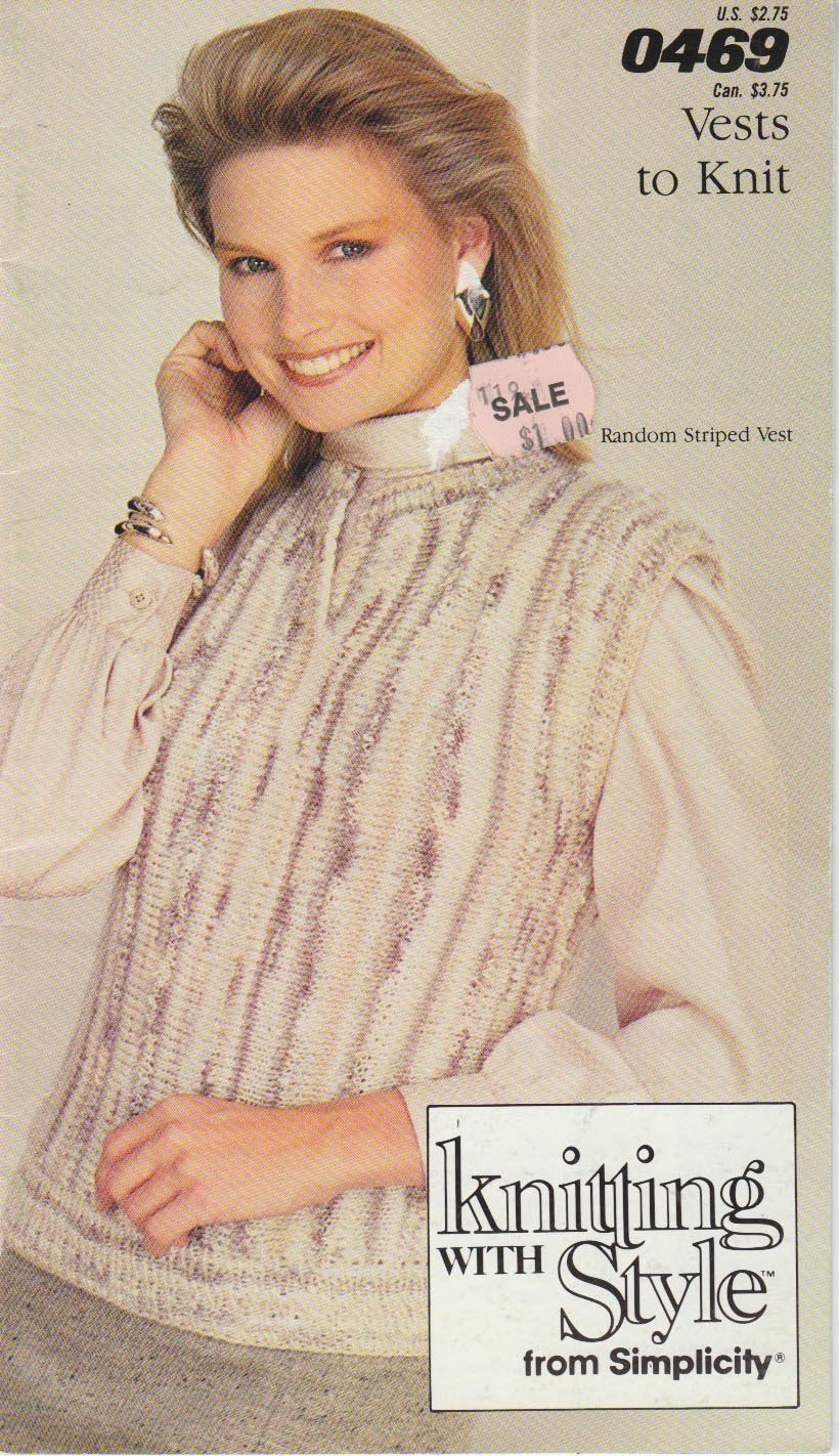Simplicity Knitting With Style 1987 Pattern Booklet No.0469 Vests To Knit