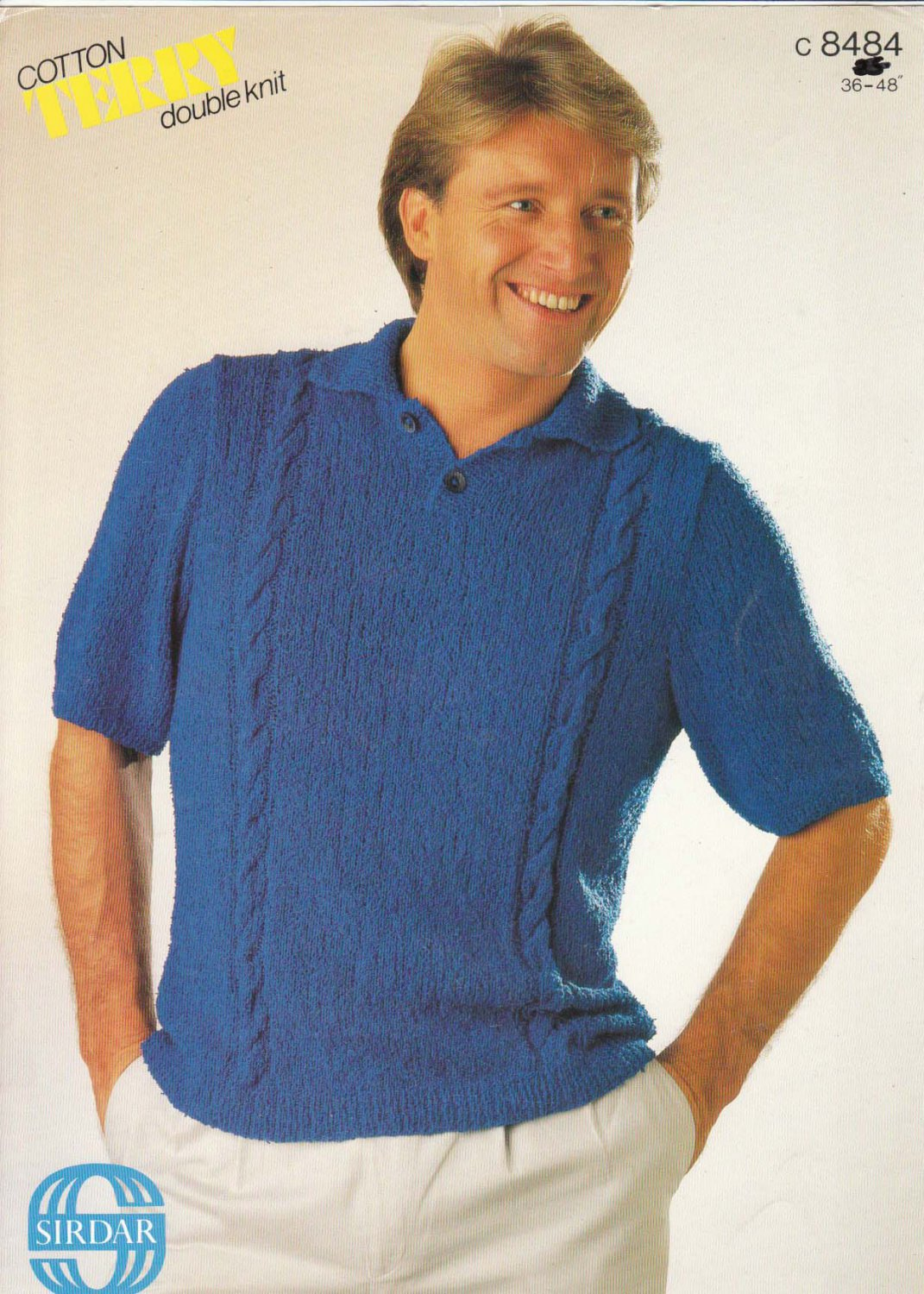 Sirdar Pattern #c8484 to knit Mens Cotton Terry Double Knit Tee Shirt