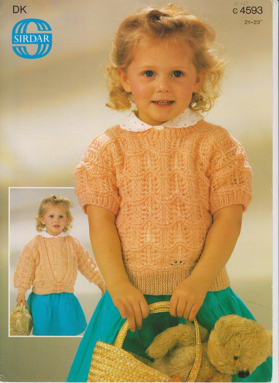Sirdar Knitting Pattern Leaflet #c4593 to knit Toddler Cardigan and Top