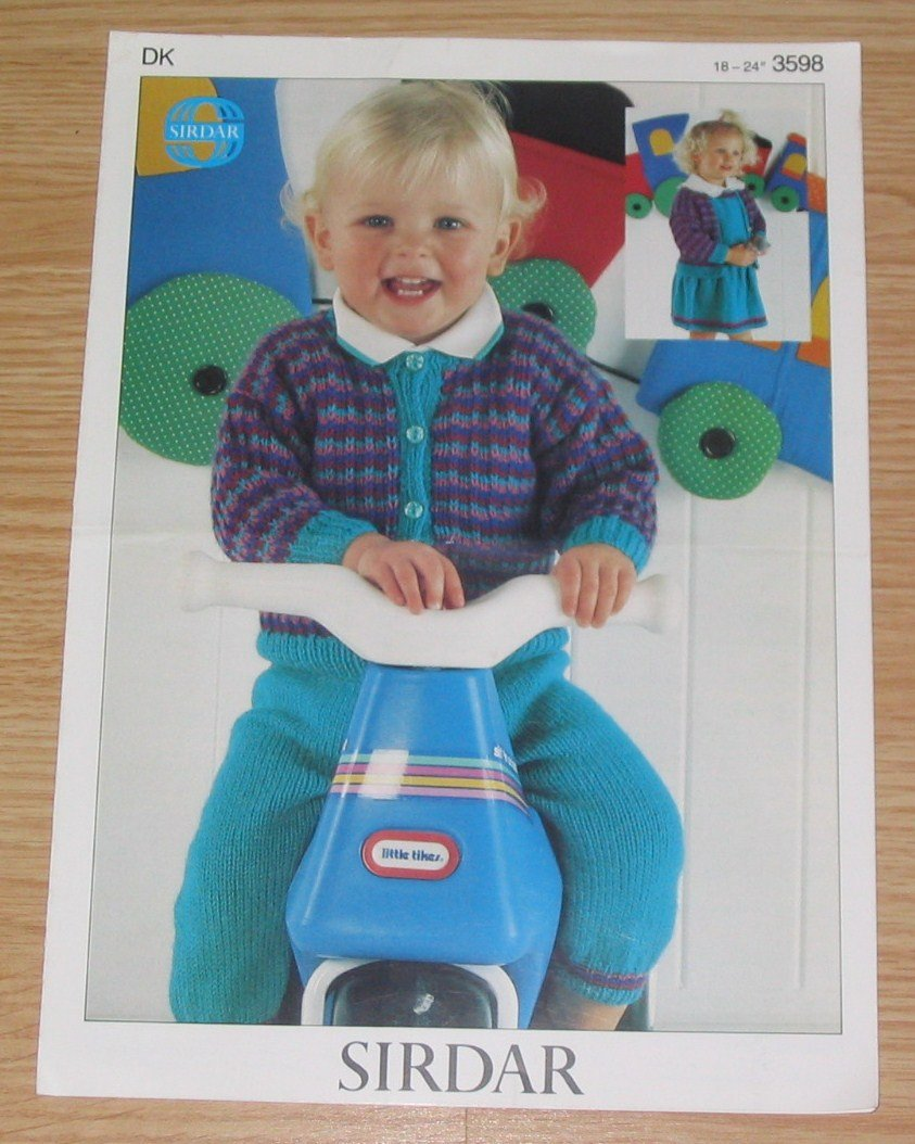 Sirdar Knitting Pattern #3598 Cardigan, Dress And Dungarees for Toddlers