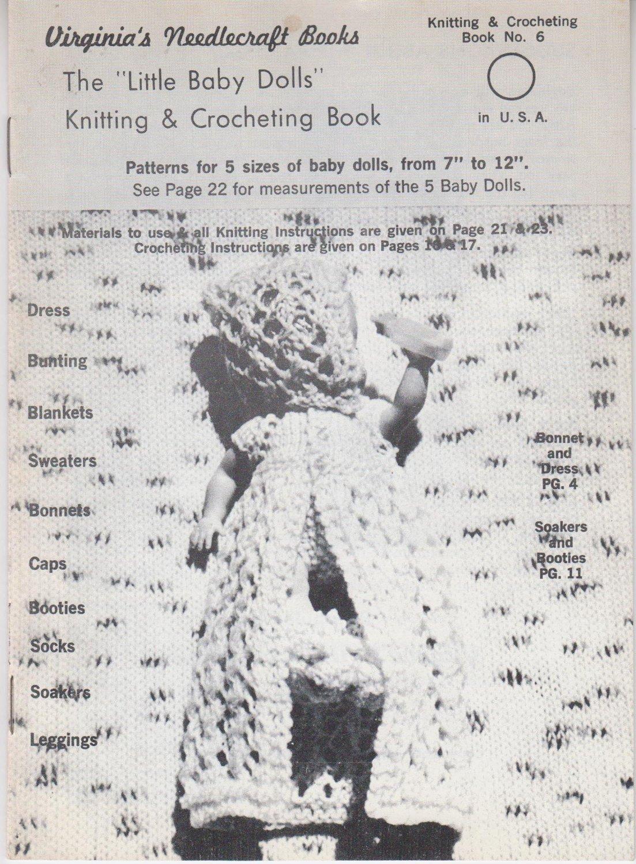 Virginia's Needlecraft Books The Little Baby Dolls Knitting & Crocheting Book #6