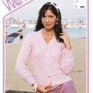 Wendy Monaco Knitting Pattern #1992 Lady's V-Neck Cardigan