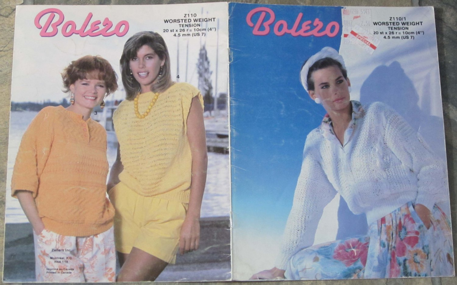 Zellers Knitting Pattern booklet #Z110 for Worsted Weight Yarns