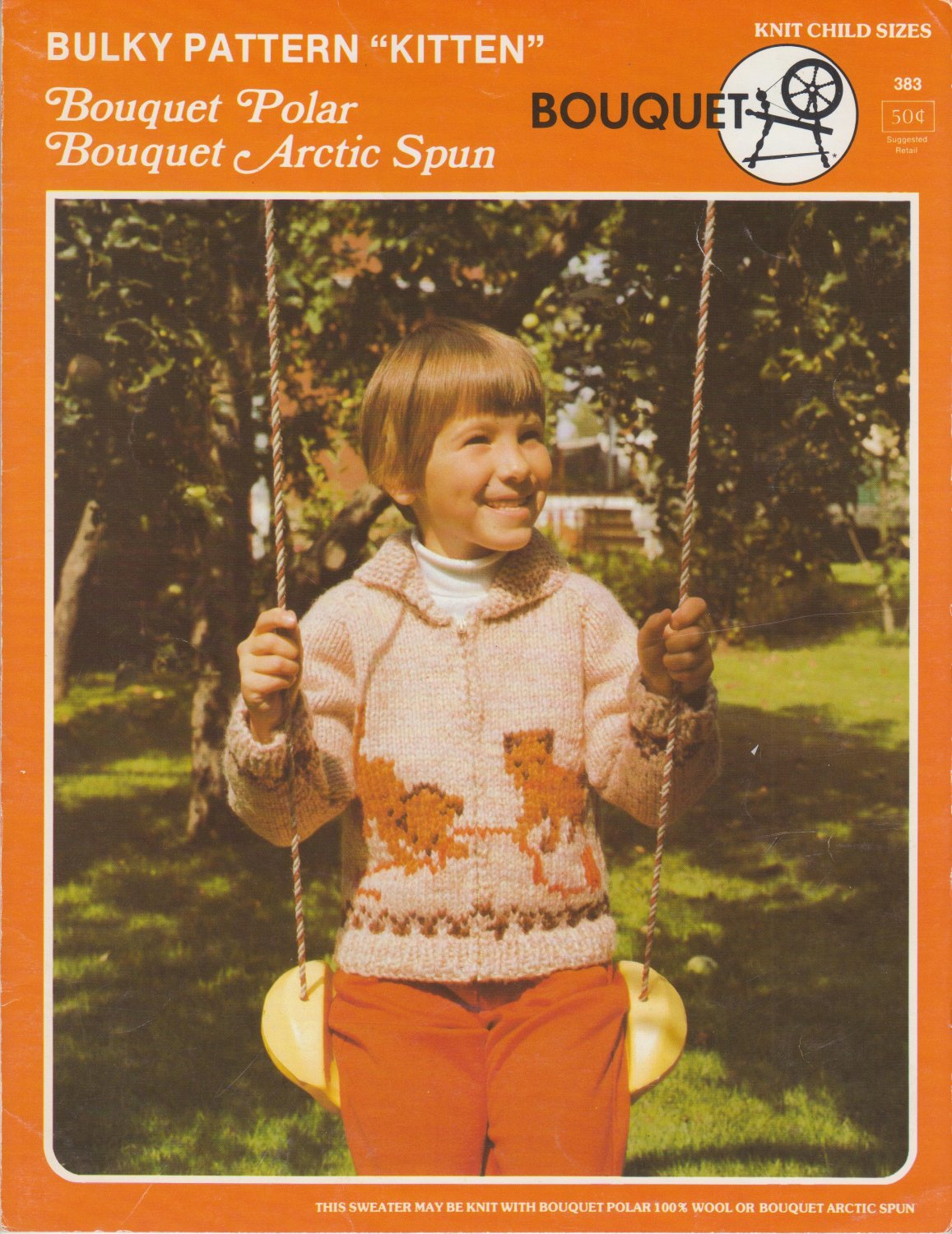 Bouquet Bulky Pattern #383 Kitten knit in child sizes 8-10-12