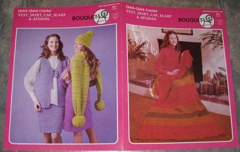 Bouquet Crochet Pattern #341 to Crochet Vest, Skirt, Cap, Scarf & Afghan