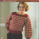 Bucilla 1984 Knit/Crochet Sweater & Afghan Pattern Booklet Six of One Volume 80