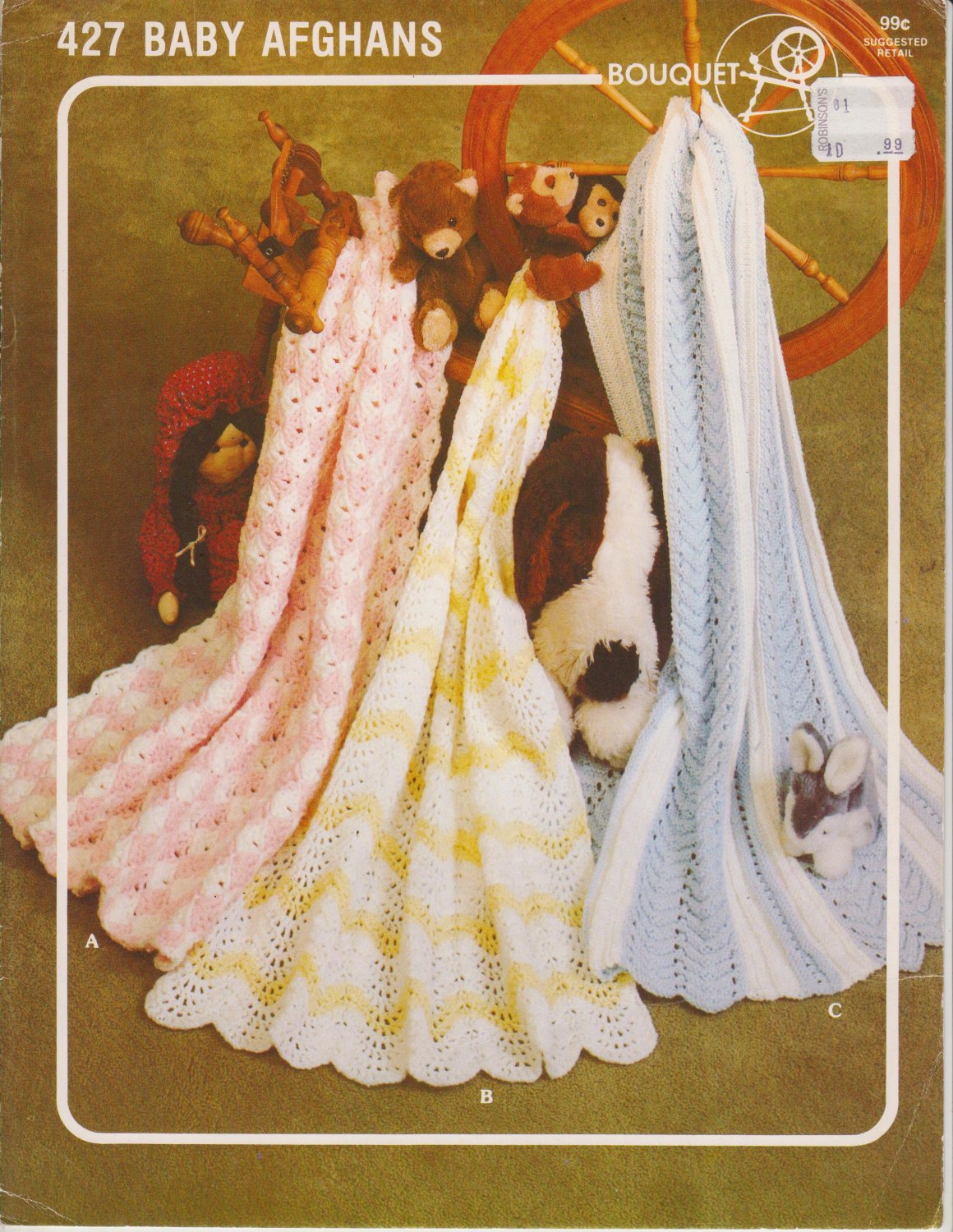 Bouquet Crochet/Knit Pattern #427 to Crochet 2 Afghans and Knit 1 Afghan