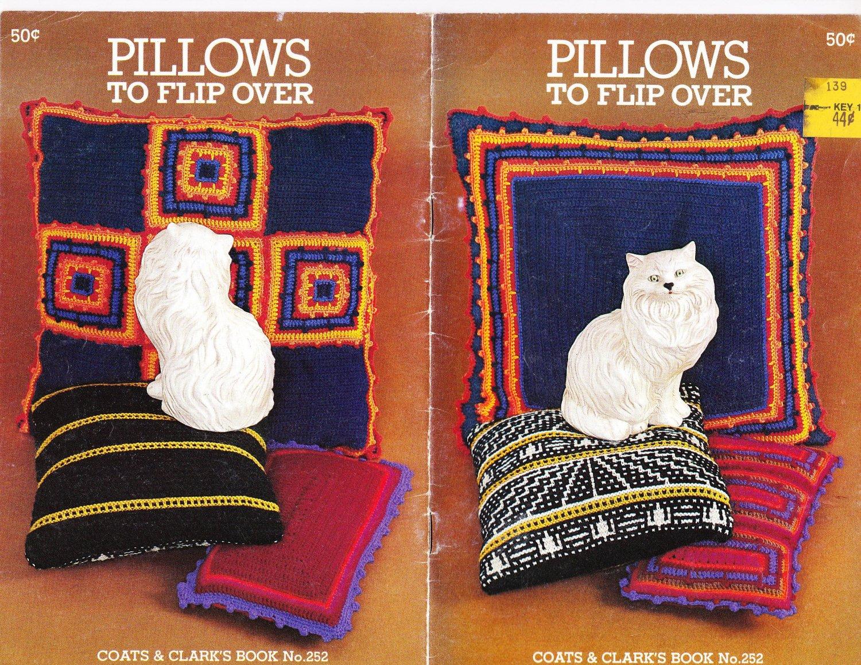 Coats & Clark's Book No. 252 Pillows To Flip Over 1976 Knit Crochet Pattern Book