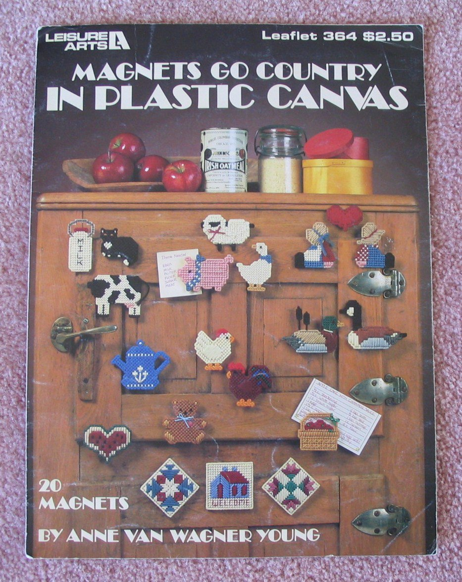 Leisure Arts 1985 Pattern Leaflet No.364 Magnets Go Country In Plastic Canvas