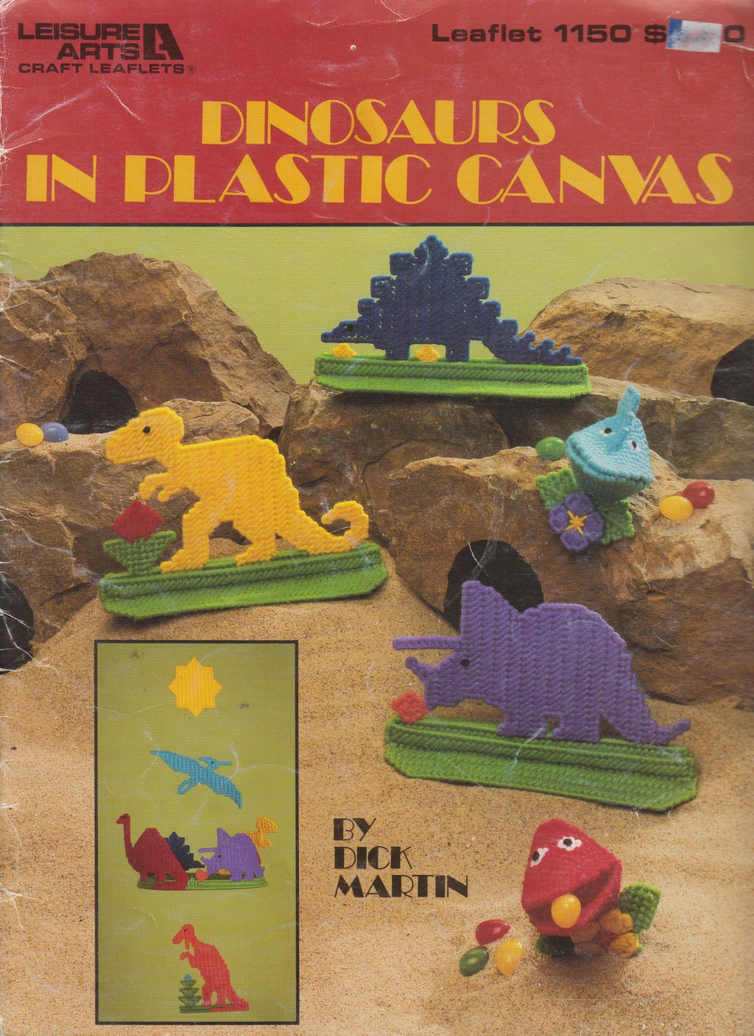 Leisure Arts 1988 Leaflet #1150 Dinosaurs in Plastic Canvas