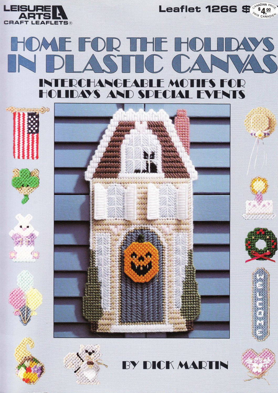 Leisure Arts 1990 Leaflet #1266 Home For The Holidays in Plastic Canvas