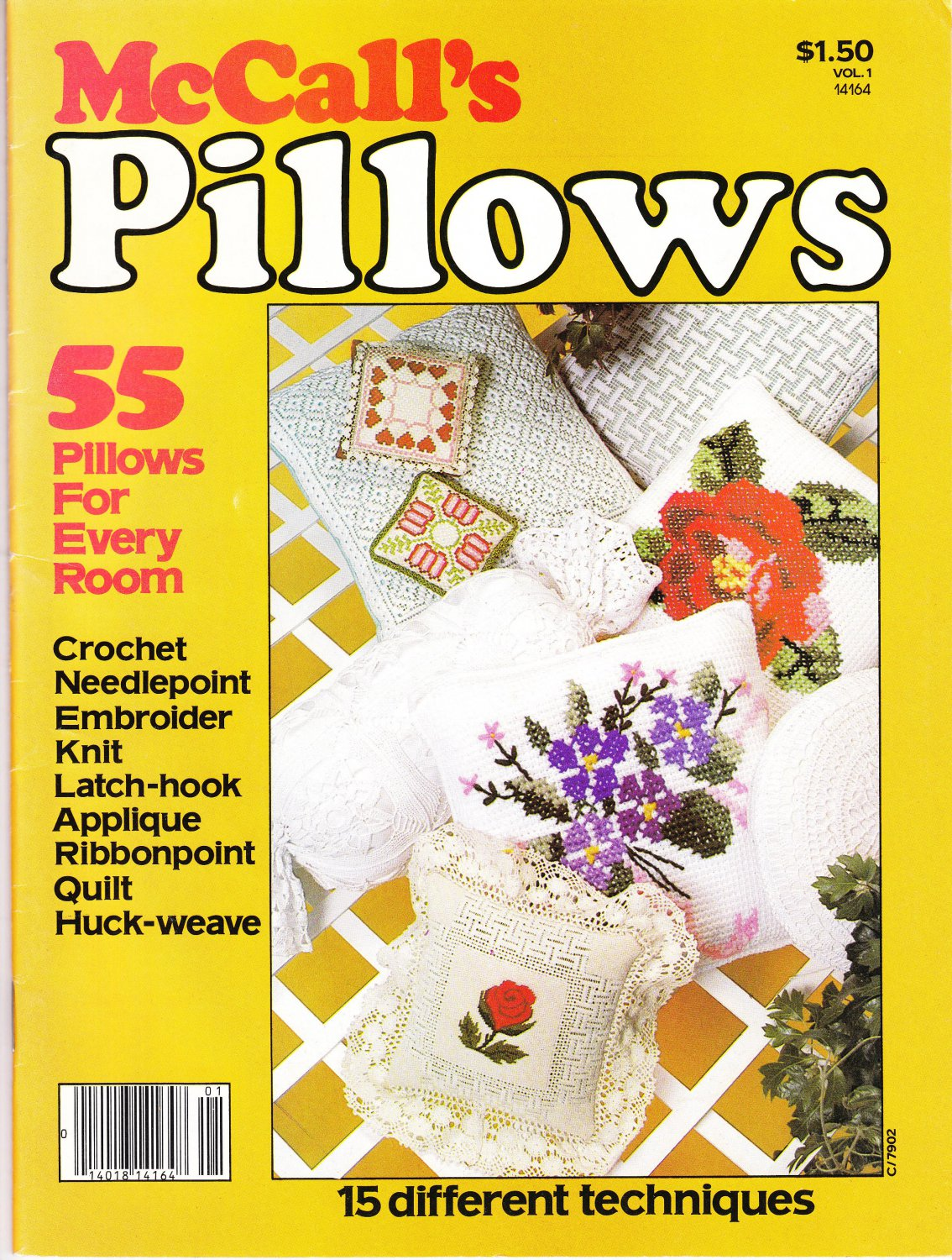McCall's 1979 Magazine Pillows Vol.1- 55 Pillow Designs -15 Different Techniques