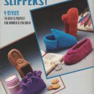 Leisure Arts 1985 Knit & Crochet Pattern Leaflet #356 Slippers! 9 styles